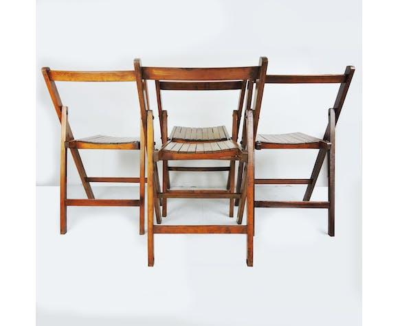Ensemble de 4 chaises de campagne pliantes George VI utilisées par les militaires britanniques pendant la Seconde Guerre mondiale