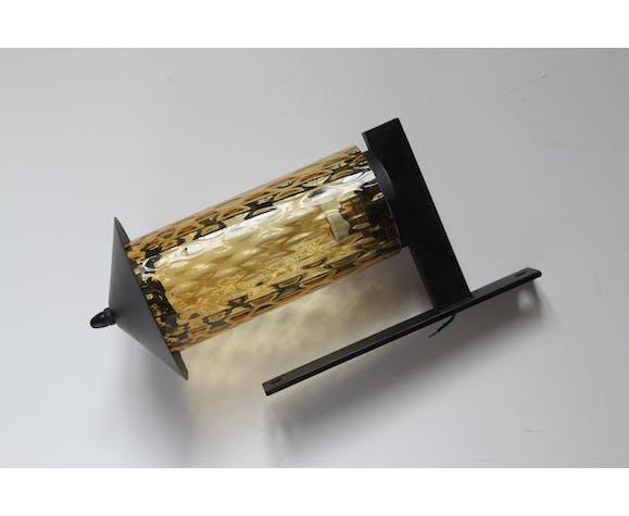Applique en métal et en verre soufflé des années 1950
