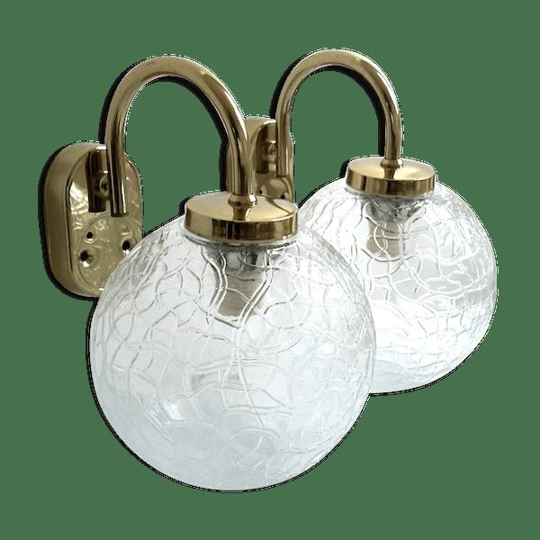 Vintage Bon Transparent Appliqués Mdfcl5i Laiton Murale Verre Et Cristal Globe État OPX8N0wZnk