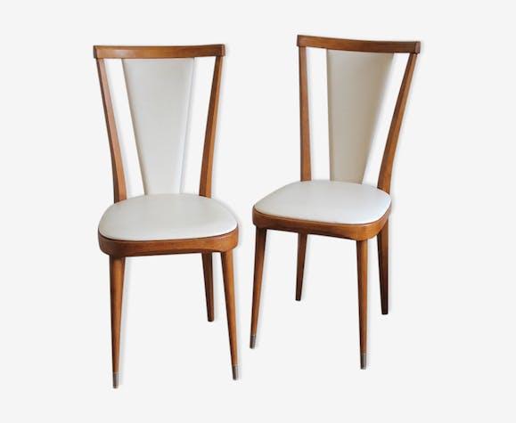 Paire de chaises type scandinave en bois et skaï