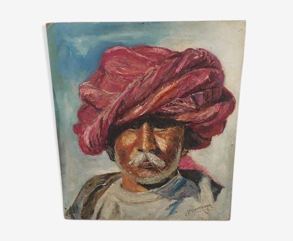 Portrait orientaliste l'homme au turban rose