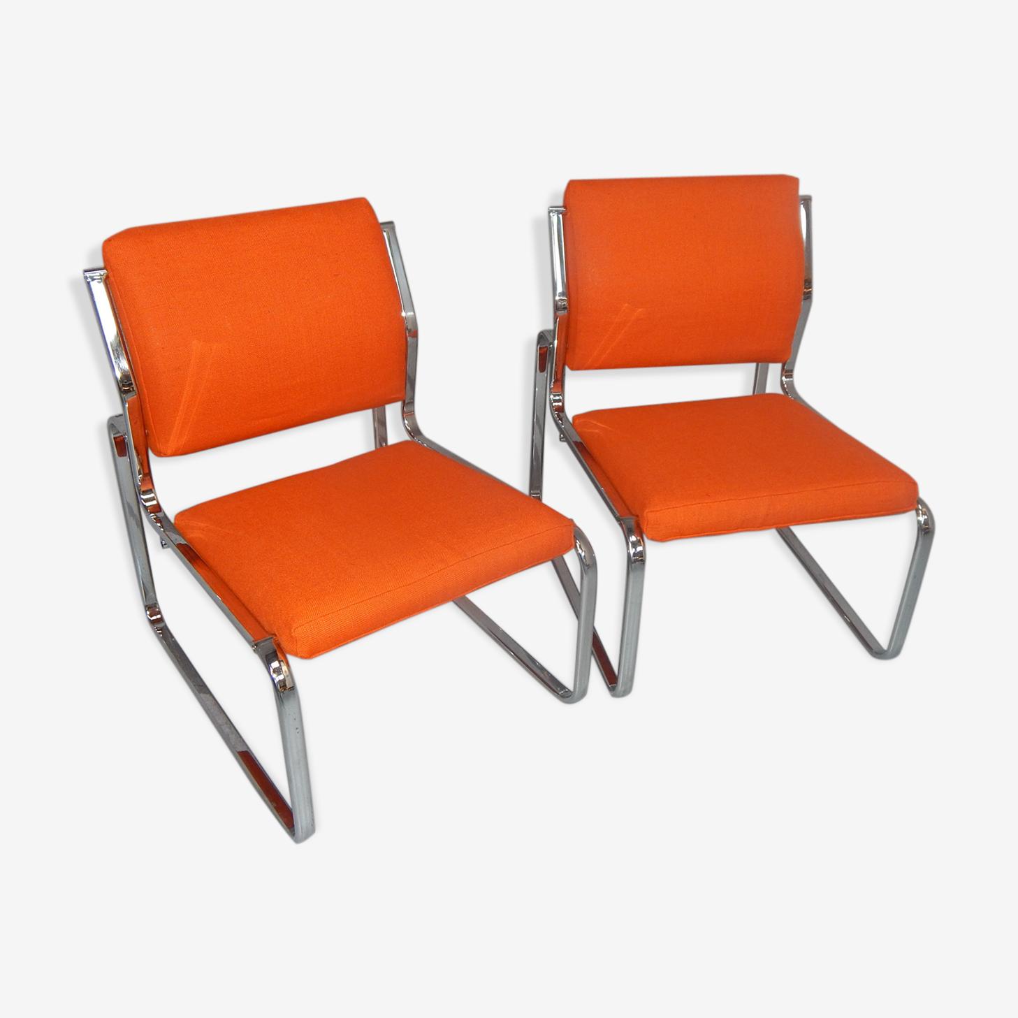 Paire fauteuils chauffeuses chromés vintage design 70/80