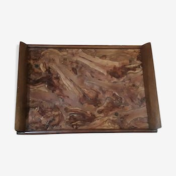Wood marquetry serving tray