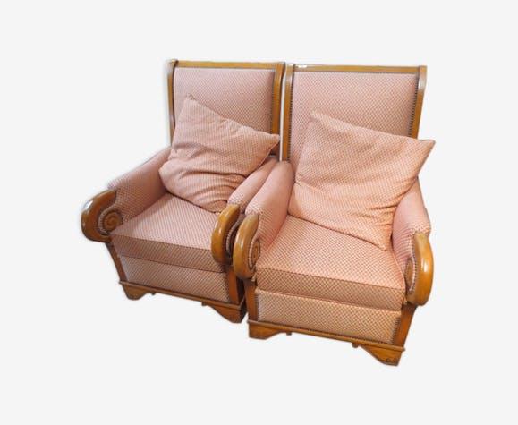 Paire de fauteuils style Louis Philippe - bois (Matériau) - bois ...
