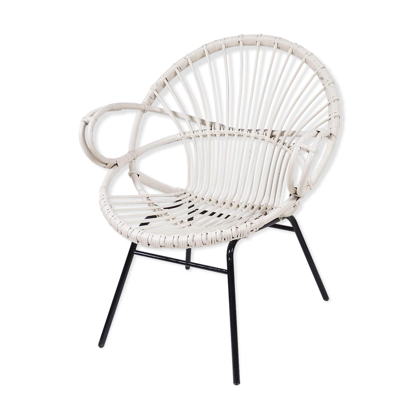 fauteuil rotin blanc - rotin et osier - blanc - vintage - qiagimd