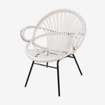 White rattan armchair