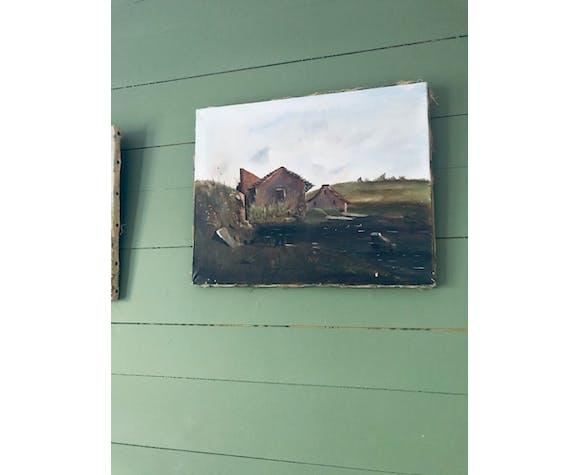 Peinture sur toile paysage d'alpage