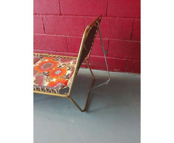 chaise longue fleur tissus vert vintage