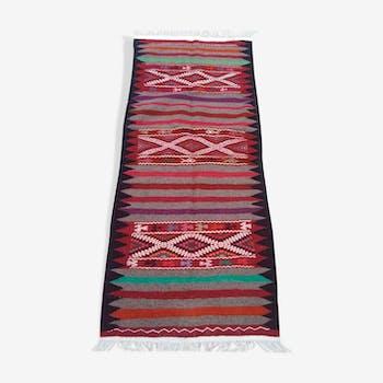 Tapis kilim multicolores en pure laine fait à la main 71x165 cm