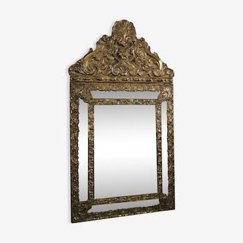 Parecloses early twentieth brass mirror 66x36cm