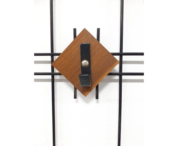 Coat rack with teak pads and metal structure, 40-50s