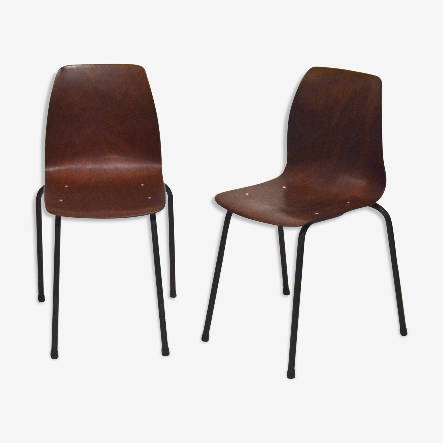 Pair of pagholz stacking chairs