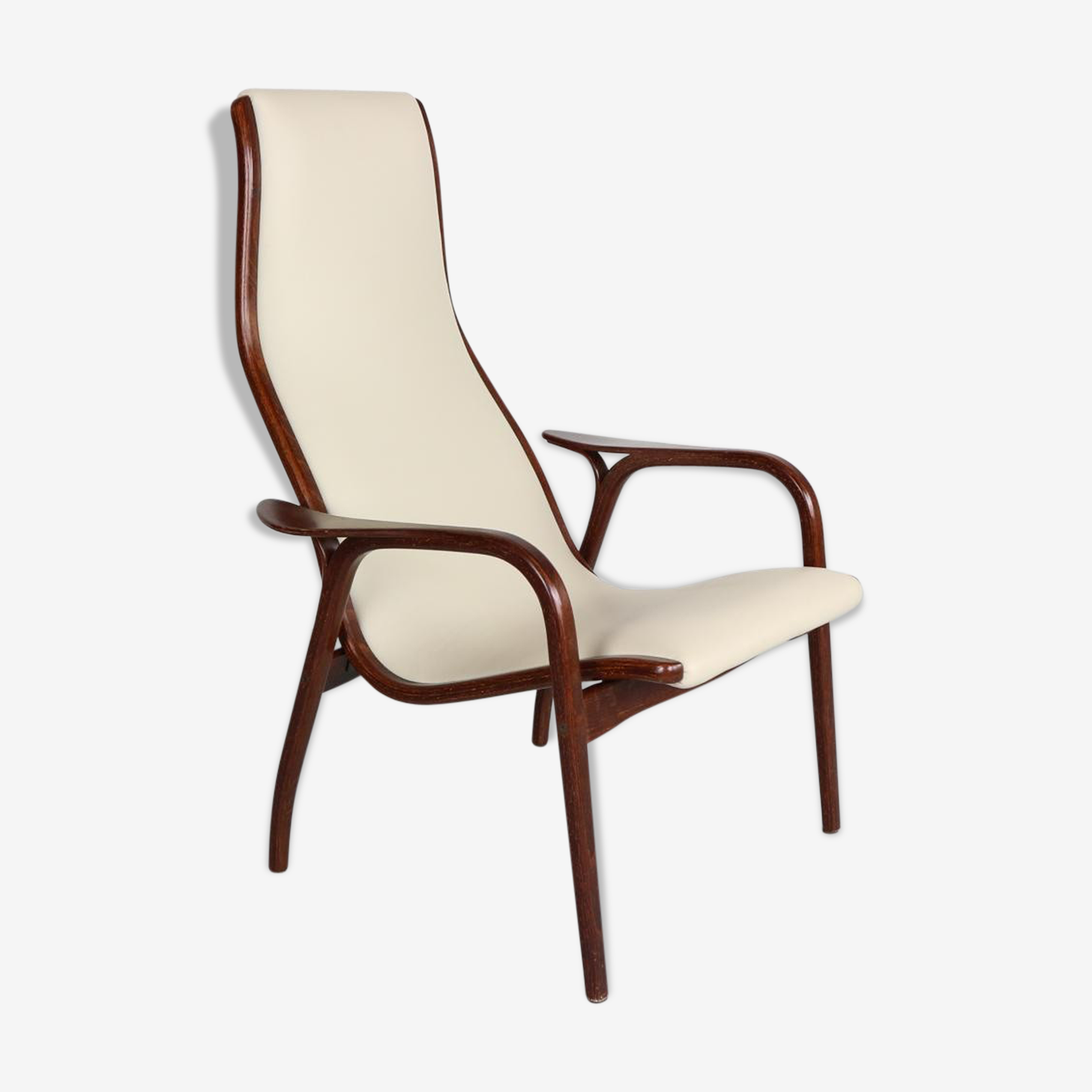 Lamino armchair in leather and wenge by Yngve Ekström for Swedese 1950 s