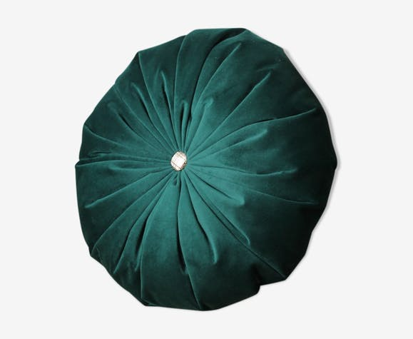 Green round velvet cushion fir