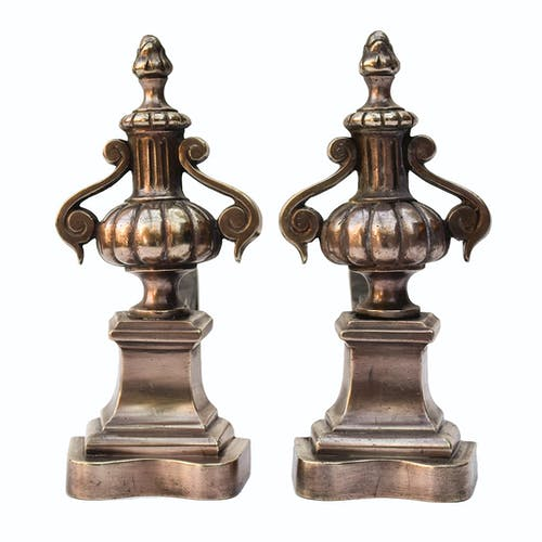 Pair of copper brass channel old fireplace accessory - Brocante Chic