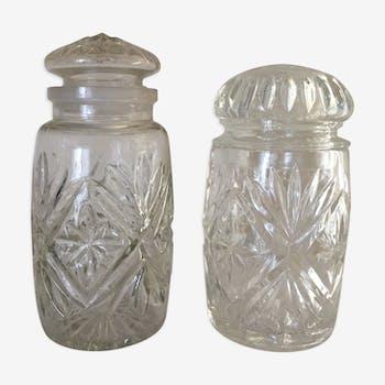 2 chiseled glass jars
