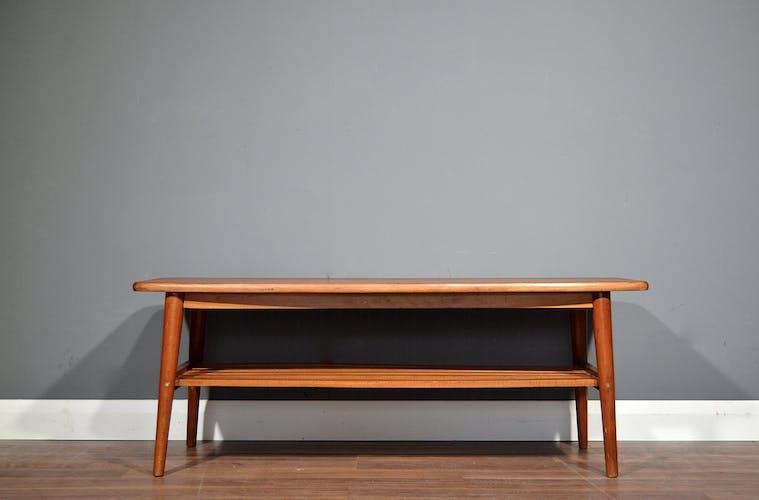 Midcentury two tier teak slatted coffee table