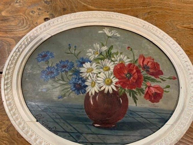 Tableau ancien bouquet de fleurs anémones encadré et signé Ch. Girardin
