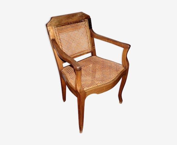 fauteuil de coiffeur barbier ancien en bois et cannage bois mat riau bois couleur. Black Bedroom Furniture Sets. Home Design Ideas