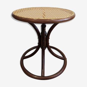 Side table in curved wood and rattan