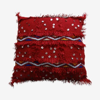 Berber cushion made hand decorated sequins mouzouna