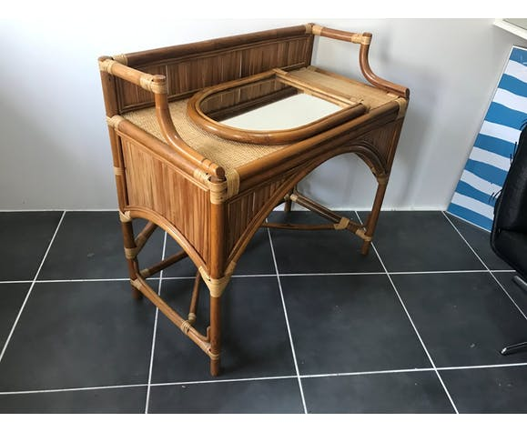Coiffeuse bureau en rotin vintage