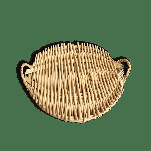 Plateau en osier rond avec anses plateau de fromage for Plateau rond en bois pour table