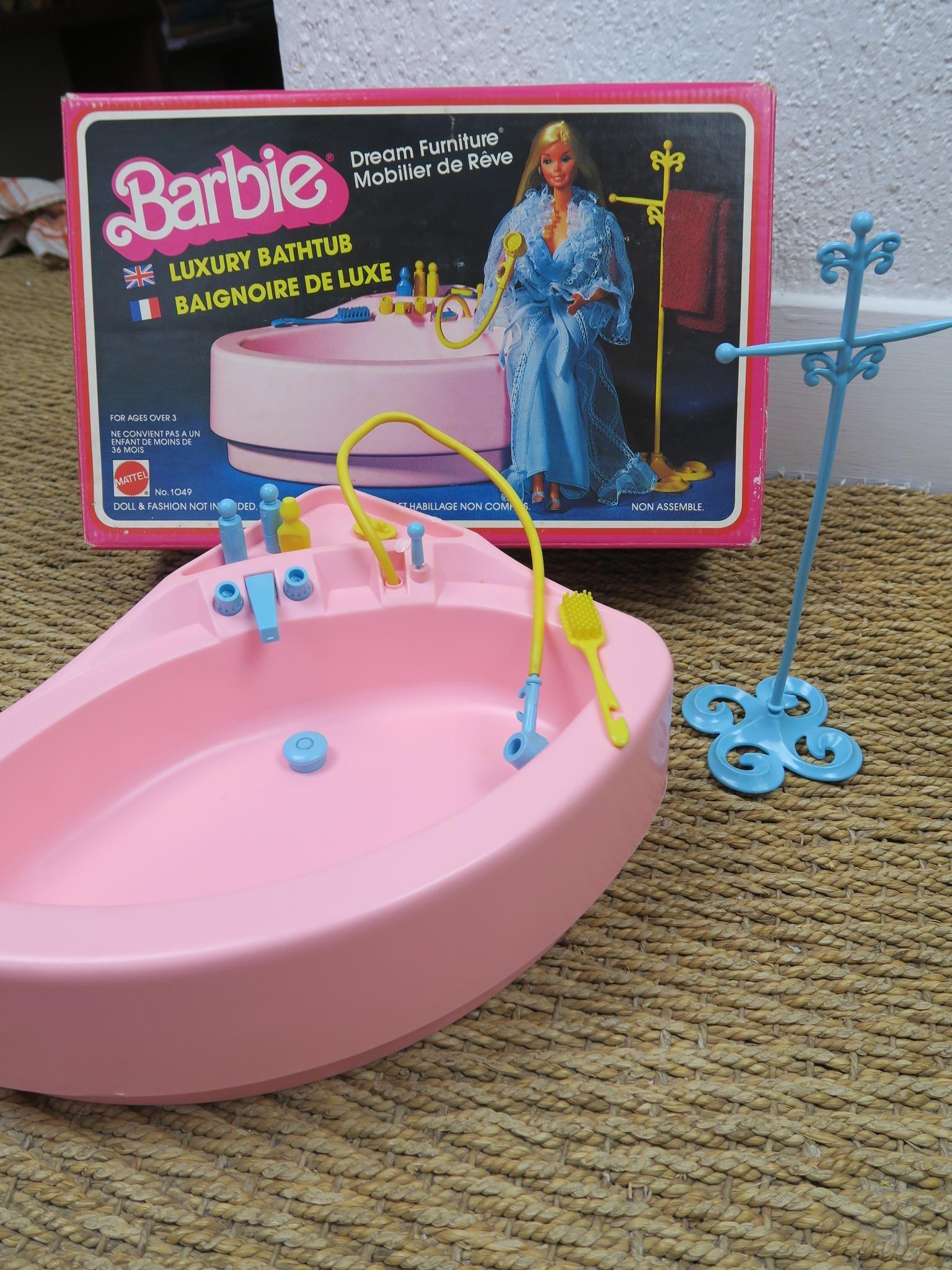 Captivant Baignoire De Luxe Barbie Vintage Ref 1049 Dans Sa Boite