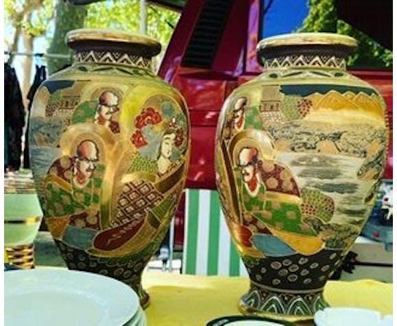 Lot de 2 vases céramique orientaux