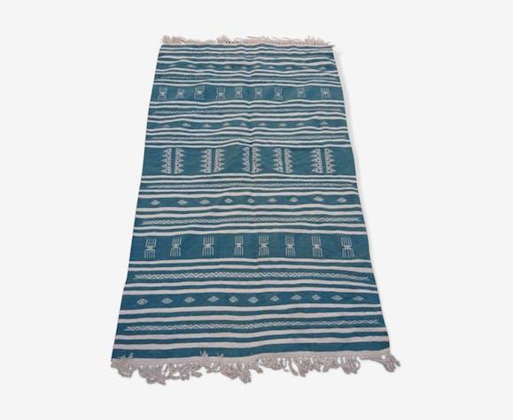 Tapis kilim bleu berbère fait à la main 200x115cm