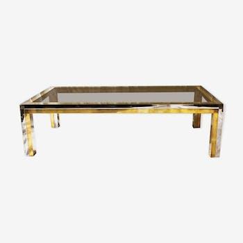 Italian coffee table in chrome and brass Romeo Rega