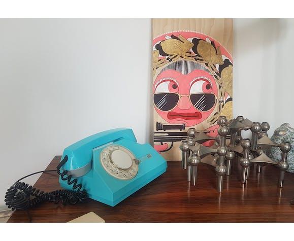 Téléphone Rotary VEF TA-72 couleur bleu électrique Made in USSR - vintage