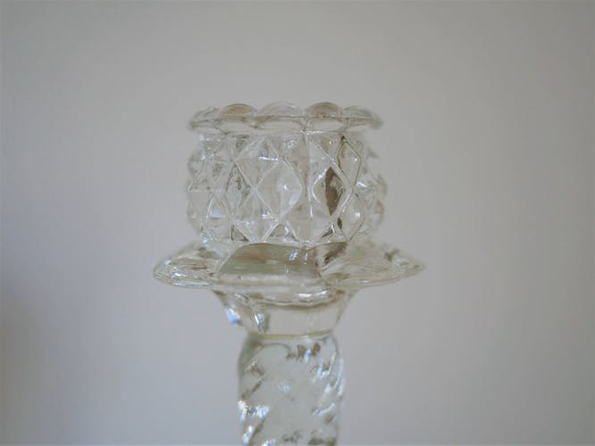 Pair of vintage glass candlesticks