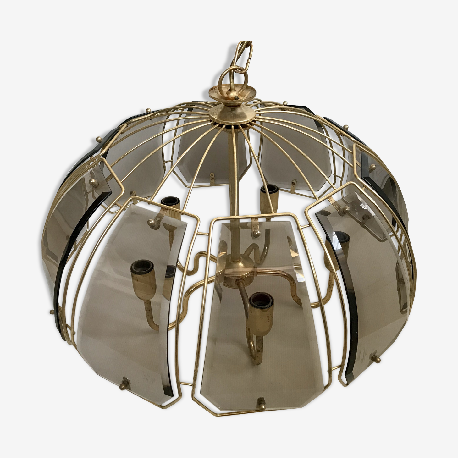 Vintage smoked glass ceiling light