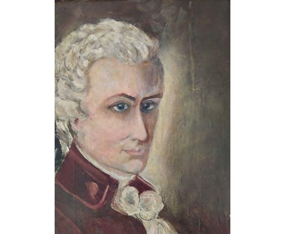 Portrait personnage homme 18 eme siecle cadre doré