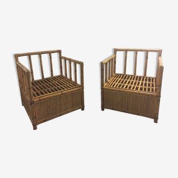 Pair of bamboo and rattan armchairs 1970