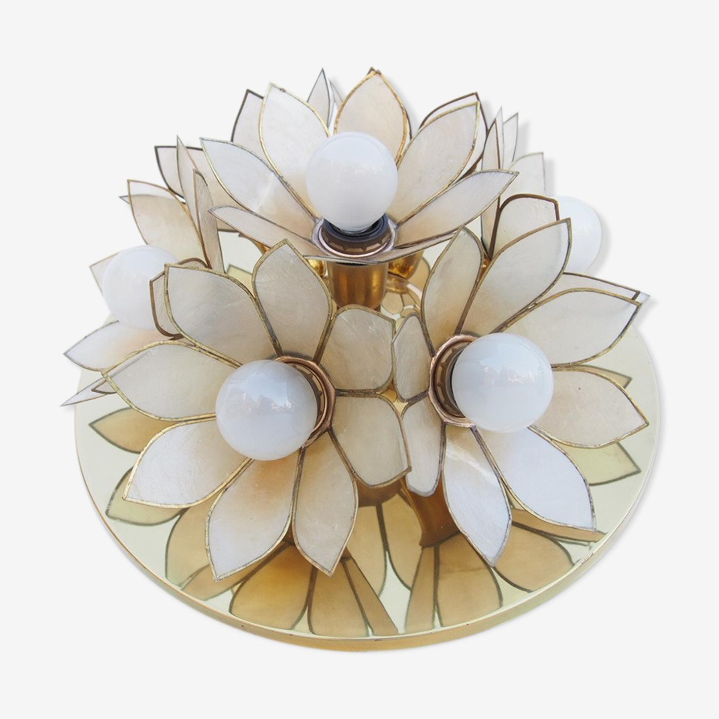 Applique/plafonnier en métal et fleurs de nacre