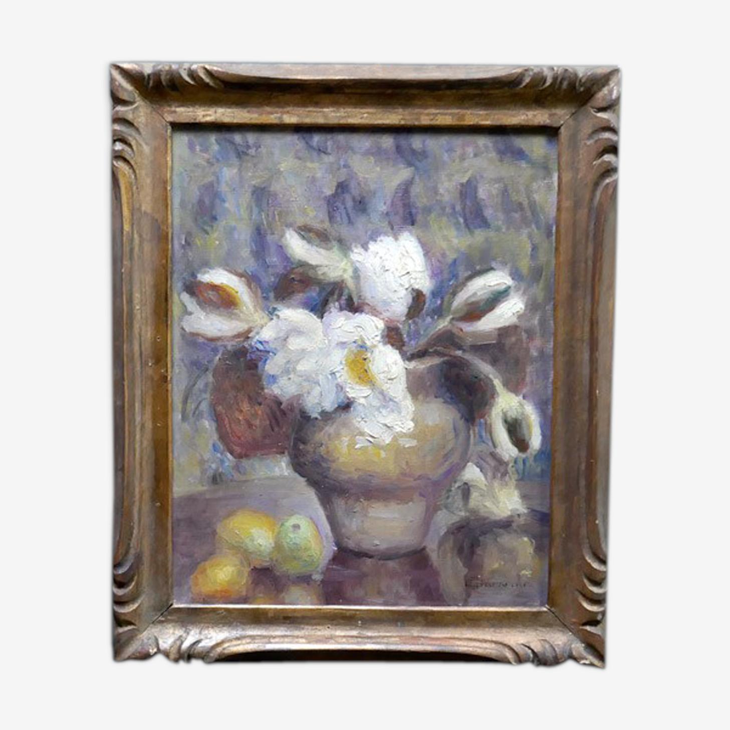 Tableau nature morte composition florale avec fruits huile sur toile signé G.Grenthe