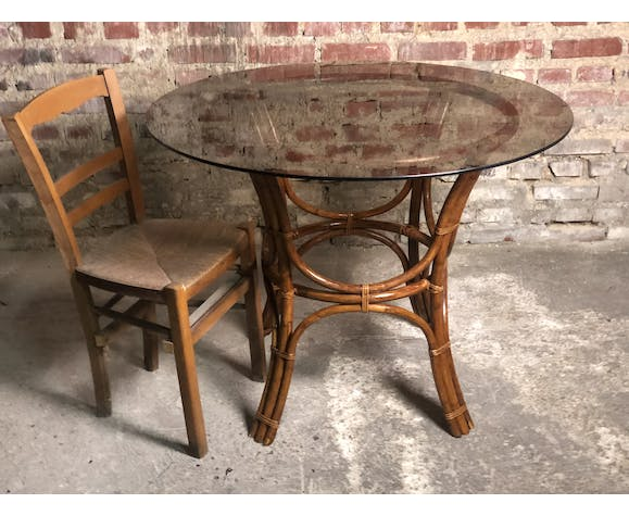 80 S Vintage Vintage Smoked Glass Table With Round Bamboo Dining Table Selency