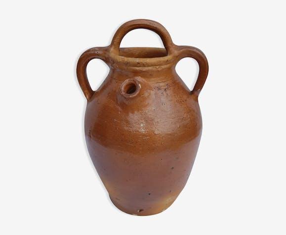 ancien pot eau en terre cuite verniss e 3 anses c ramique porcelaine fa ence marron. Black Bedroom Furniture Sets. Home Design Ideas