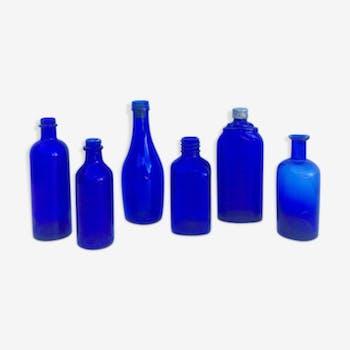 Lot de 6 vases bleus