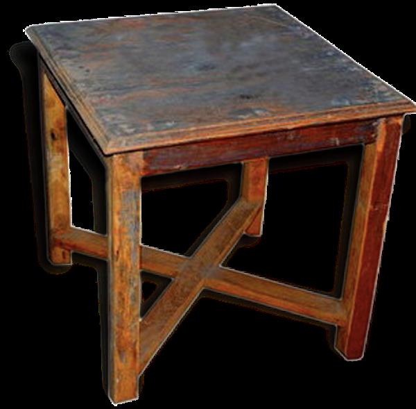 Ancien bout de canapé carré en teck