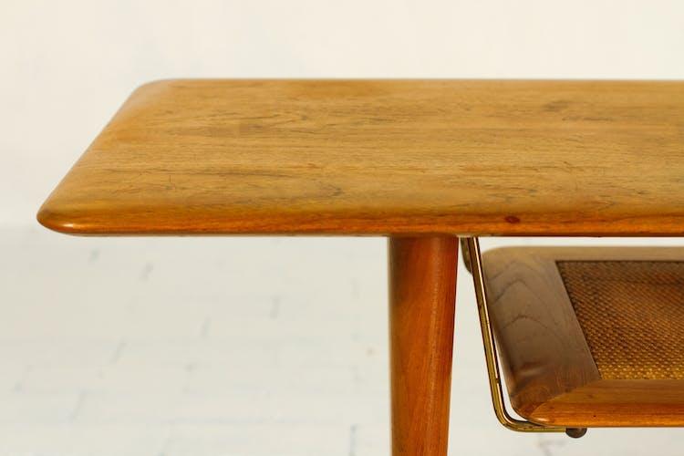 Table basse en teck et cannage par Peter Hvidt & Orla Mølgaard Nielsen