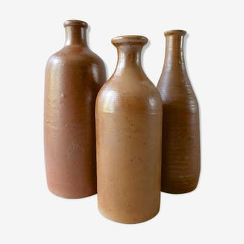 3-Pack glazed stoneware bottles