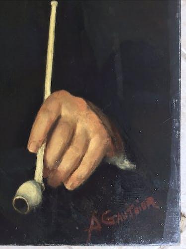 Portrait à l'huile de l'écrivain Fernand Fleuret  92x73cm