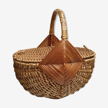 Basket rattan braided seventies