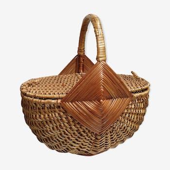 Basket rattan braided seventies