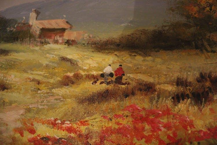 """Huile sur toile """"Paysage provençal animé"""" signé Ecole française du XXème siècle"""
