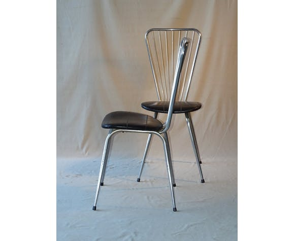 2 stainless steel and black skai chairs, circa 1960, trend Colette Guesden