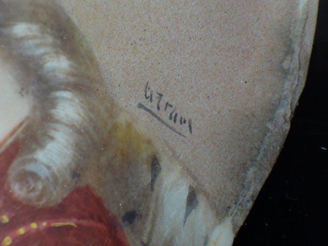 Portrait à l'huile peinture Marie Antoinette cadre bronze bélier miniature signé XVIII